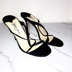 Jimmy choo strappy black fabric heels